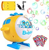 Bubble Machine 3000 Bubbles Per Minute, Battery Operated Plug-in Automatic Bubble Maker for Kids, Indoor Outdoor with 3 Packs of Bubble Solution & 1 Bubble Bottle(Helicopter, Yellow)