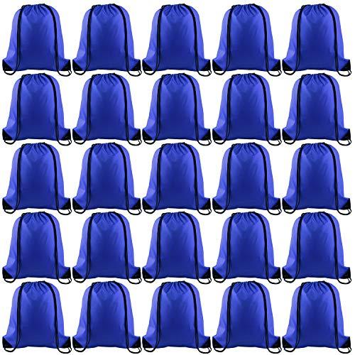KUUQA 25Pcs Drawstring Backpack Bags String Backpack Sport Bag Sack Cinch Tote Gym Backpack Bulk for Gym Sport Traveling,Royal Blue