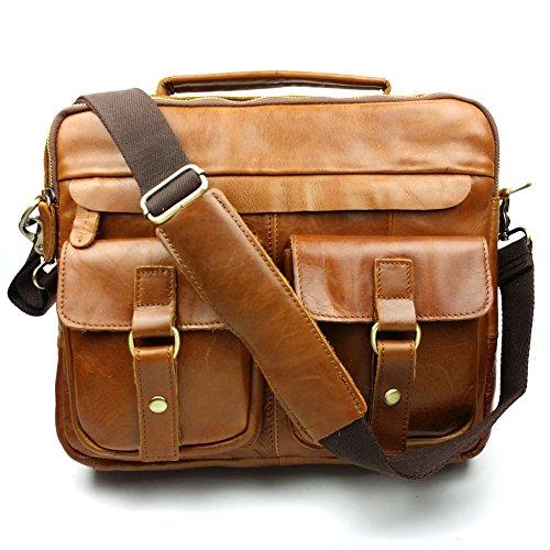 Everdoss da uomo in vera pelle look vintage borsa a mano Borsa a tracolla Borse Messenger borsa a tracolla Messenger Bag Marrone marrone