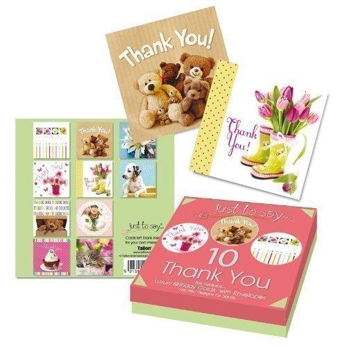 10 x Luxus Dankeschön-karten Ausgewählte Designs Kuchen, Blumen Teddys Katze Hund