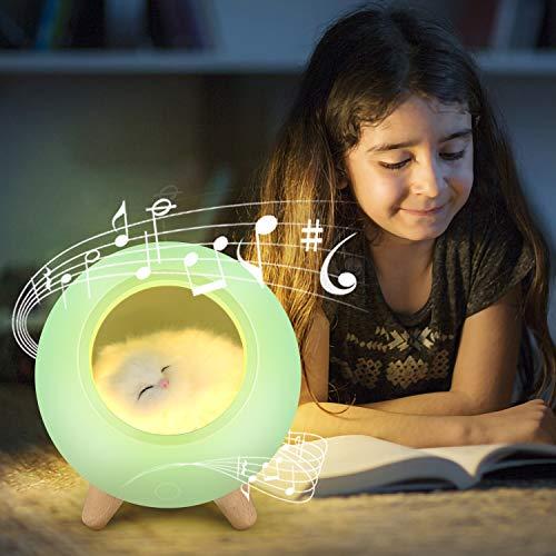 Luz Nocturna para Niños con Altavoz Bluetooth, PTN Lámpara Mesita Noche con Altavoz Bluetooth, Iluminación Recargable USB Cat House, Lámpara Escritorio LED Luz Nocturna para Niños, Niñas, Hombres
