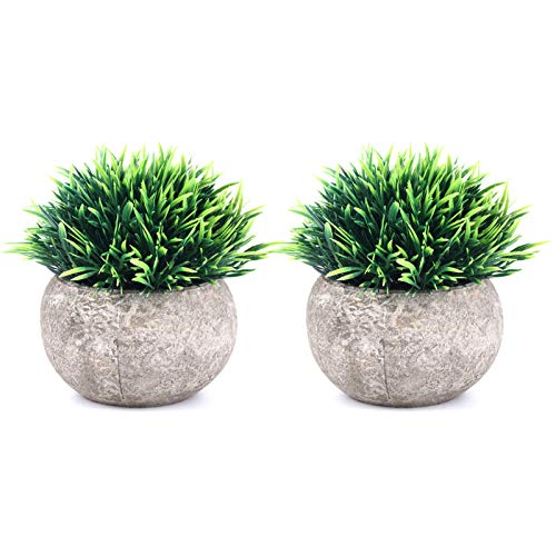 THE BLOOM TIMES 2 Pcs Fake Plants for Bathroom/Home Office Decor, Small Artificial Faux Greenery for House Decorations (Potted Plants)