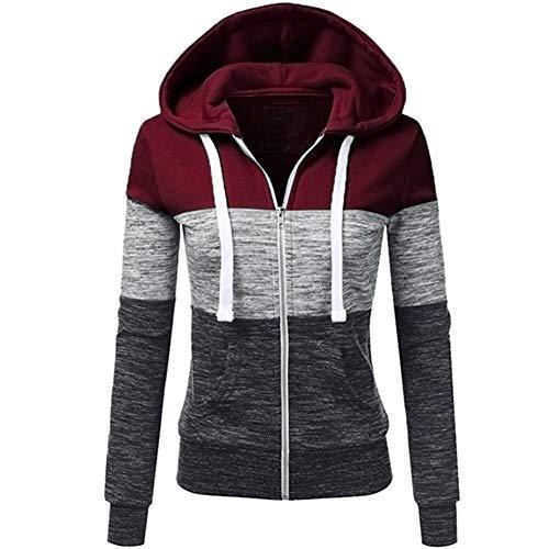 Newbestyle Femme Printemps Automne Hoodies Sweat-Shirt Manches Longues à Capuche Vestes Zipper Sweatshirts (M, Rouge foncé)