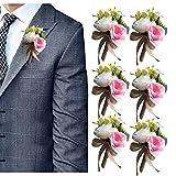 RHwedding 6 unidades de flores artificiales hechas a mano para boda, corpiño, boda, novia, dama de honor, invitados, mujer (rosa claro)