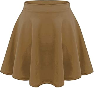 Loxdonz Girl's Versatile Stretchy Waist Flared Casual Pleated Mini Skater Skirt