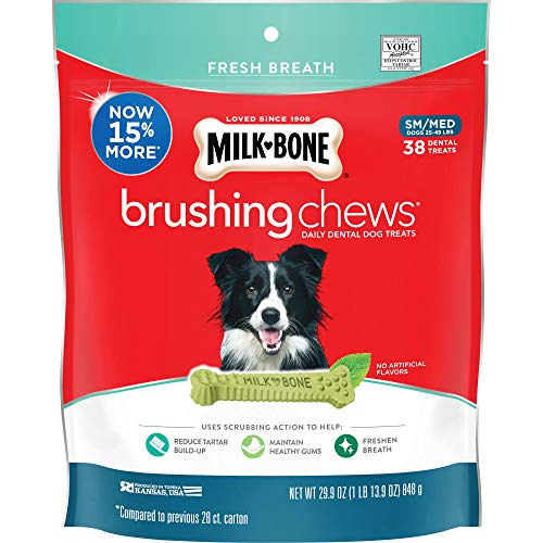 Milk-Bone Brushing Chews Daily Dental Dog Treats, Small/Medium Treats, 29.9 Ounces