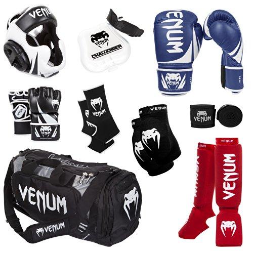 Venum Challenger 2.0 MMA Training Bundle, Blue Gloves, Red In-Step Shinguards, Black...