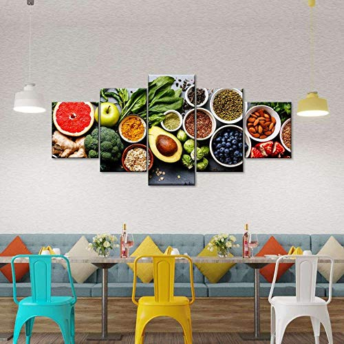 45Tdfc Foto Canvas Cuadro del Selección de Comida Saludable Colorida |Fotografía Panorámica Impresa en Lienzo|Cuadros Panorámicos Listos para Colgar|Decoración 5 Piezas Tamaño 150x80cm