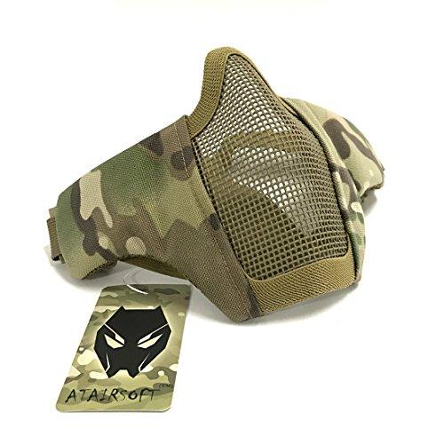 Tactical Airsoft CS Schutzkleidung Strike Stahl Halbmaske mit 2-Gürtel für Jagd Paintboll WorldShopping4U (Multicam)