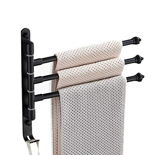QYQS 3 Ganchos Racks de Toallas para El Baño Montado En La Pared, Rotación Multifuncional Racks de Toallas Independientes para El Baño, Un Fuerte Cojinete de Carga(Size:3 Hooks,Color:Negro)