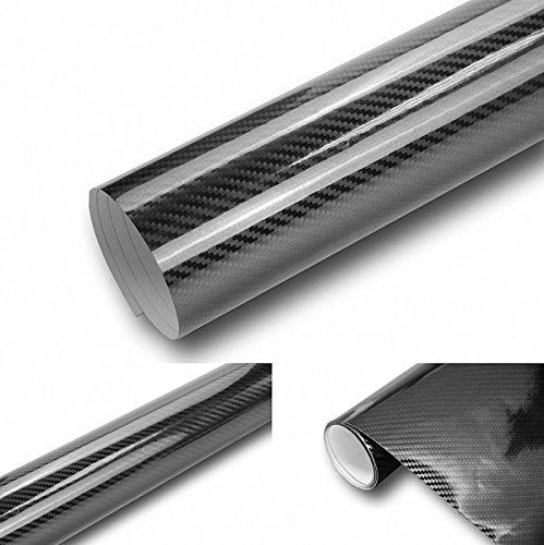 Neoxxim 5D Carbon Folie Hochglanz 10,53€/m2-1 m x 1,52 m - 5D Carbonfolie selbstklebend flexibel, Klebefolie blasenfrei mit Luftkanälen ca 0,17mm dick Autofolie - Car Wrapping