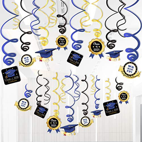 Happy Graduation 2021 Hanging Decorations Swirls(30CT), Graduation Party Supplies 2021, Graduation Wishes, Mortarboards, Diplomas Hanging Ceiling Graduation Accessories for School Prom Grad Party