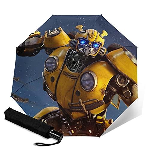 Transformers Bumblebee Paraguas automático portátil de tres pliegues, cortavientos, impermeable, anti-UV, apertura automática/cerrada, compacta y portátil plegable paraguas