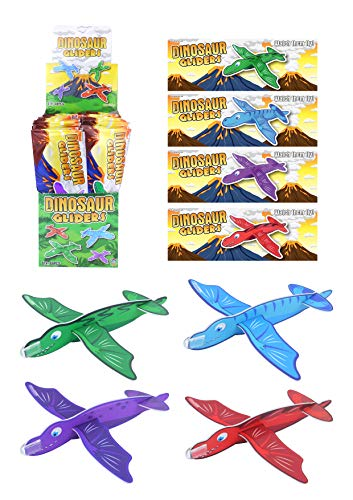 Henbrandt Pack of 4 Dinosaur Gliders – Kids Polystyrene Flying Gliders Pinata Toy Loot Party Bag Fillers Wedding for Boys and Girls