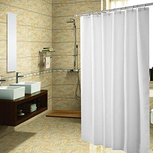 Duschvorhang Anti-Schimmel & Wasserdicht Polyester Textil Duschvorhang mit Haken Weiß 220x200cm
