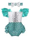 YiZYiF Baby Mädchen Glitzer Meerjungfrau Kostüm Rüschen Strampler Und Stirnband Set Kleinkind Bekleidungsset Halloween Geburtstag Cosplay Outfit Silber 74-80