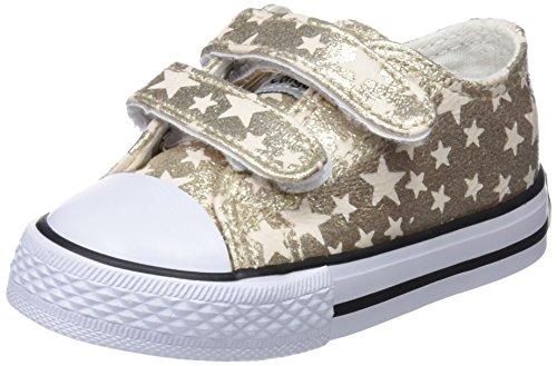 Conguitos Sneaker Metalizado Velcro, Baskets Enfiler Garçon Fille, Or (Platino), 25 EU