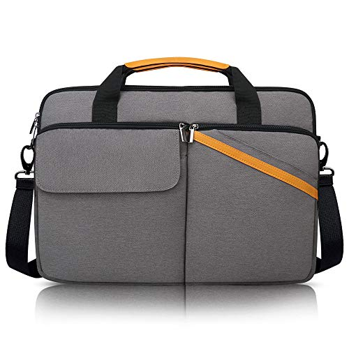 iCozzier 15-15.6 Inch Multi-pocket Laptop Sleeve Briefcase Large Capacity Shoulder Bag Electronic Accessories Organizer Protective Messenger Carrying Case - Dark Grey