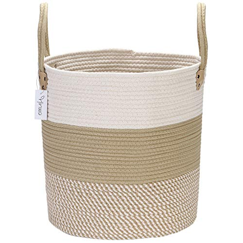 Hinwo Cotton Rope Storage Basket Collapsible Laundry Hamper Nursery Storage Bin Container Organizer with Handles, 15 x 13.8 inches, Off White and Khaki