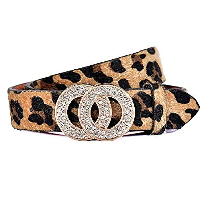 Fashion Women Leopard Print PU Leather Belt for Jeans Belt with Double O-Ring Rhinestone Buckle (Leopard Print, M(Suit Pant Size 30''-35''))