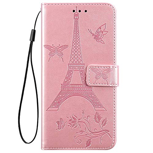 IKASEFU Compatible With Huawei Y6 2019/Honor 8A Case Emboss Iron tower Butterfly Soft Pu Leather Wallet Strap Case Card Slots Shockproof Magnetic Folio Flip Kickstand Protective Cover Case Rose gold