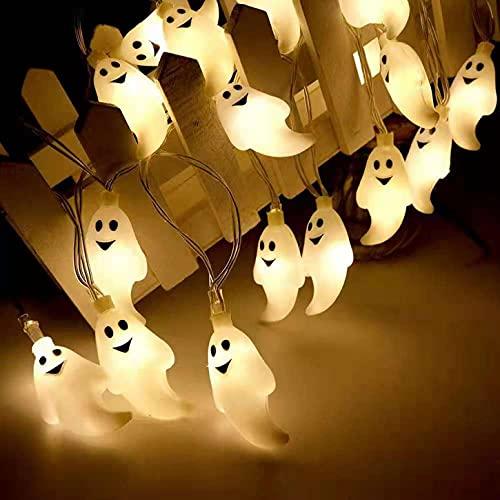 U/N HUA Luci della Festa di HalloweenFantasmi, 1.5M 10 LED Luci Stringa con Decorazioni Fantasma,Fantasma per Decorazioni di Halloween Funziona a Batteria, Giardino, Interni, Portico, Esterna