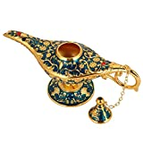 HEEPDD Aladdin Magic Genie Lamps, Retro Metal Fairy Tale Teapot Home Oil Lamp Decoration for Classic Arabian Costume Props Party Halloween Birthday Gift (Blue)