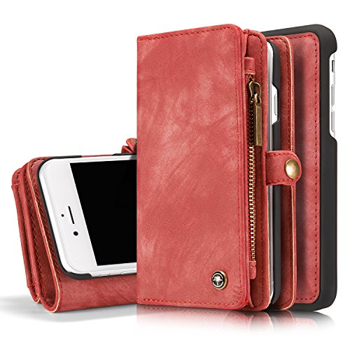 MOONORN iPhone 7 Plus/iPhone 8 Plus Wallet Case - Detachable Leather Phone Wallet Magnetic Flip Case Shockproof Cell Phone Case with Credit Card Slots (Red)
