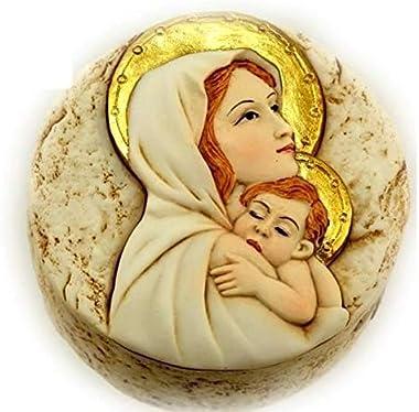sans Boite Ronde Couvercle icône Religieux en Relief de la Vierge à l'enfant