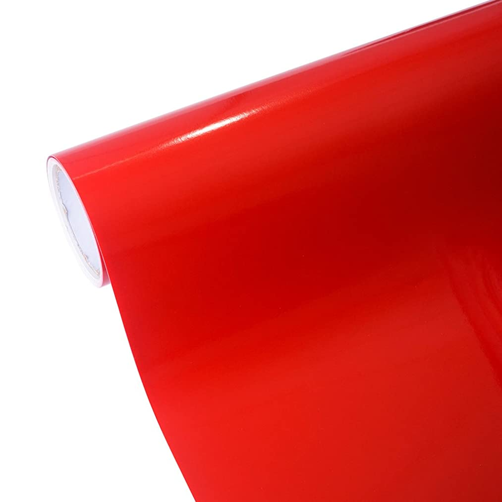 TECKWRAP 12''x10ft Glossy Red Permanent Adhesive-Backed Vinyl for Craft Cutters, Punches and Vinyl Sign Cutters