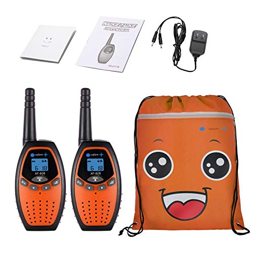 ONFAON Toys for Boys, Kids Walkies Talkies Long Range Rechargeable Walky Talky with Automatic Battery Save,Range Up to 3 Miles for Camping,Hiking,Fishing,Outdoor Activities (Orange)