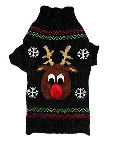AIYUE® Costume Natale Animale Domestico Vestiti Maglia Inverno Caldo per Cane Gatto Maglieria Maglione Tuta Dolcevita Stampato Alce Natalizio