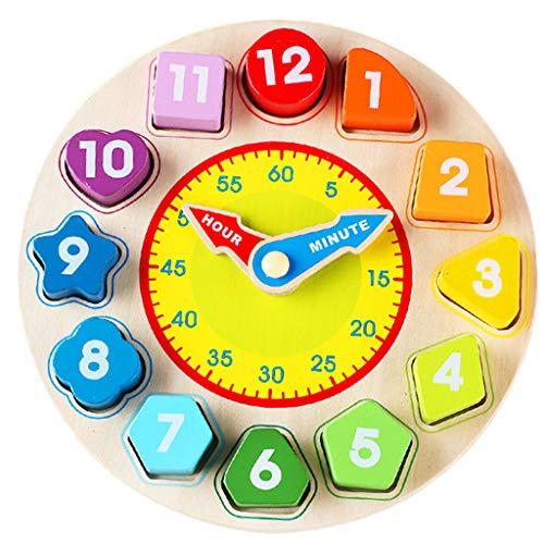 ZYN Enfant en Bois Jouet numérique Forme Paire Horloge perlant l'éducation précoce Puzzle (Couleur : Rainbow Clock)