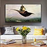 QWESFX Prinz Ivan auf dem magischen Teppich Wandkunst Leinwanddrucke Russische berühmte Gemälde s Bilder für Wohnzimmer (Druck ohne Rahmen) E 60x120CM