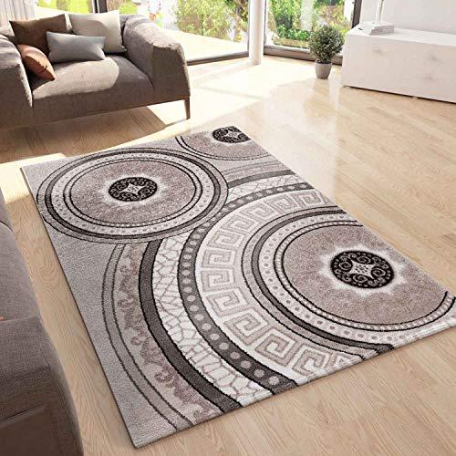 VIMODA Teppich Designer Kurzflor Wohnzimmer mit Glitzer Medaillon Used Optik in Beige, Maße:160x230 cm