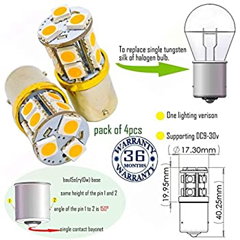 Wiseshine bau15s led amber ry10w py21w 7507 5009 1156py bau15s s25 bulb DC9-30v 3 years quality assurance  pack of 4  bau15s 13smd 5050 Yellow
