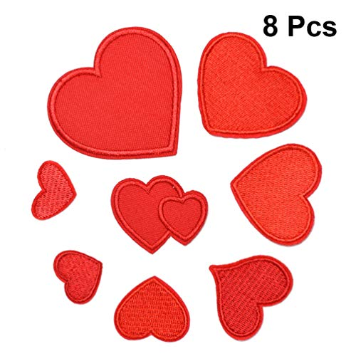 SUPVOX 8 piezas Parches Ropa Termoadhesivos De Corazón Apliques Bordados Insignias Para Diy Jeans Chaqueta Bolsa De Tela Cap Art Craft (Rojo)