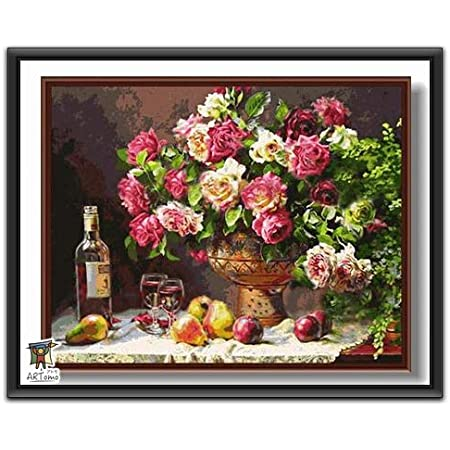 ARTomo【アトモ】パズル油絵『フレーム付き』数字 油絵 DIY 塗り絵 本格的な油絵が誰でも簡単に楽しく描ける 40x50cm (バラとの約束)
