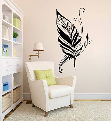 HNXDP Feder Silhouette Schlafzimmer Tapeten Wohnzimmer Künstlerische Wandtattoo Abnehmbare Klebstoffe Vinyl Aufkleber Wandbild 43x72cm