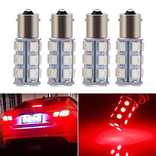EverBright 1156 Led Bulb Red, BA15S 1141 1073 7506 Base LED Replacement Bulb for RV Camper SUV MPV Car Turn Signal Light Bulb Brake Light Lamp Backup Lamps Bulbs 18SMD 5050Chips DC-12V, Pack of 4