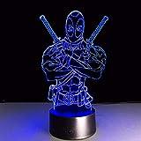 LED lámparas de escritorio YI KUI Night 3D Luz Marvel Deadpool 3D Light 7...