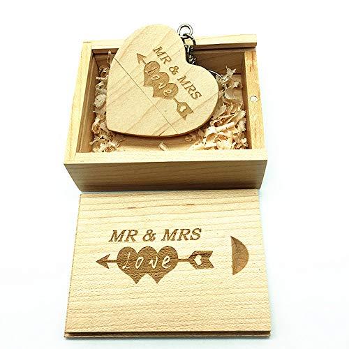 Memoria USB de madera con diseño grabado por láser de Mr & Mrs - Memoria USB de 32GB con forma de corazón y caja a juego para regalo de novedades (Maple)