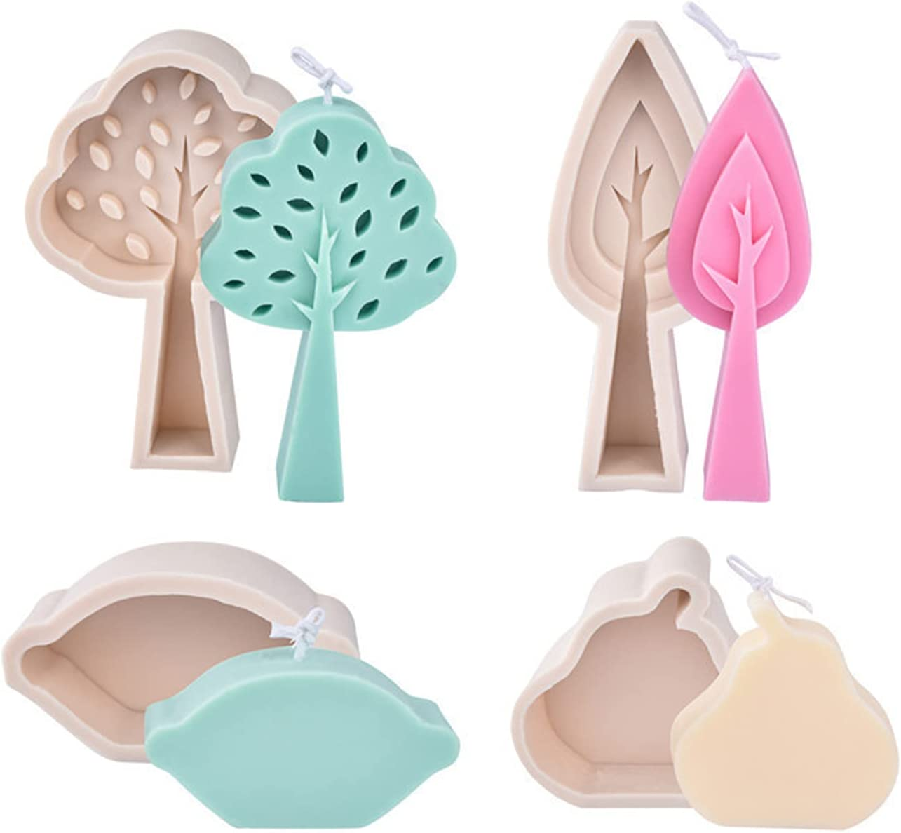 PSOAIN 4 specialty shop Pieces Tree Leaf Candle Silicone E Molds Raleigh Mall Pear DIY Lemon