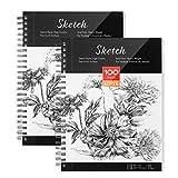 AGPTEK Skizzenbuch, Kunst Sketch Book 23 * 30cm, 2er Pack (68lb/100g), Spiralgeb&en mit leicht entnehmbaren Seiten, Toll für Künstler, Schriftsteller und Illustratoren