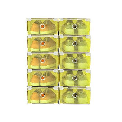 Vinteky 10x Cajas Almacenaje Plegable de plástico Cajón Organizador Transparente envase de la Caja para Zapatos Apilable Plegable Contenedor. (Amarillo, Metal Border)