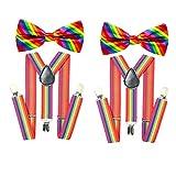 Arcobaleno Bretelle Farfallino Set uomo Bretelle Clip su Y Forma regolabile Bretelle uomo elasticizzato Gay Pride Gay Fornitura Festa di nozze
