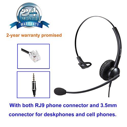 MAIRDI Cisco Telefon Headset mit Noise Cancelling Mikrofon Callcenter Headset mit RJ-Anschluss und 3.5mm Klinke für Festnetztelefonen und Handy Smartphone PC Laptops Tablets
