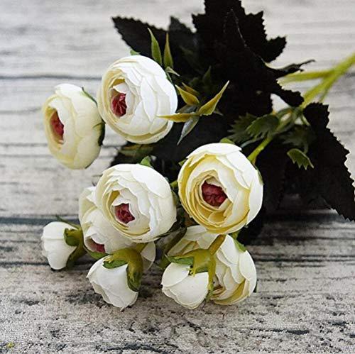 XCVB kunstmatige filigraan 9Heads mini zijde kunstbloemen pioenroos flores artificielles camellia voor thuis kerstdecoratie nep bloemboeket, e