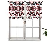 Hiiiman Cenefa de cortina con aislamiento térmico y aspecto de ganchillo nostálgico, juego de 2, 137 x 91 cm para dormitorio, baño y cocina