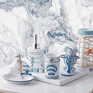 51qPRMY53AL._SS300_ Coastal & Beach Bathroom Accessories Sets